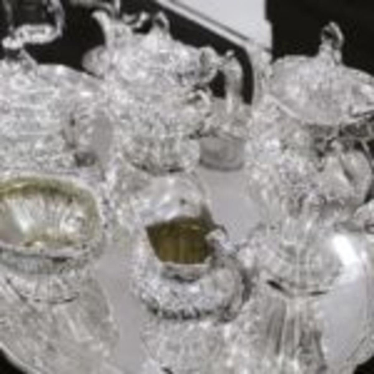 Chantilly silver tea set by Gorham