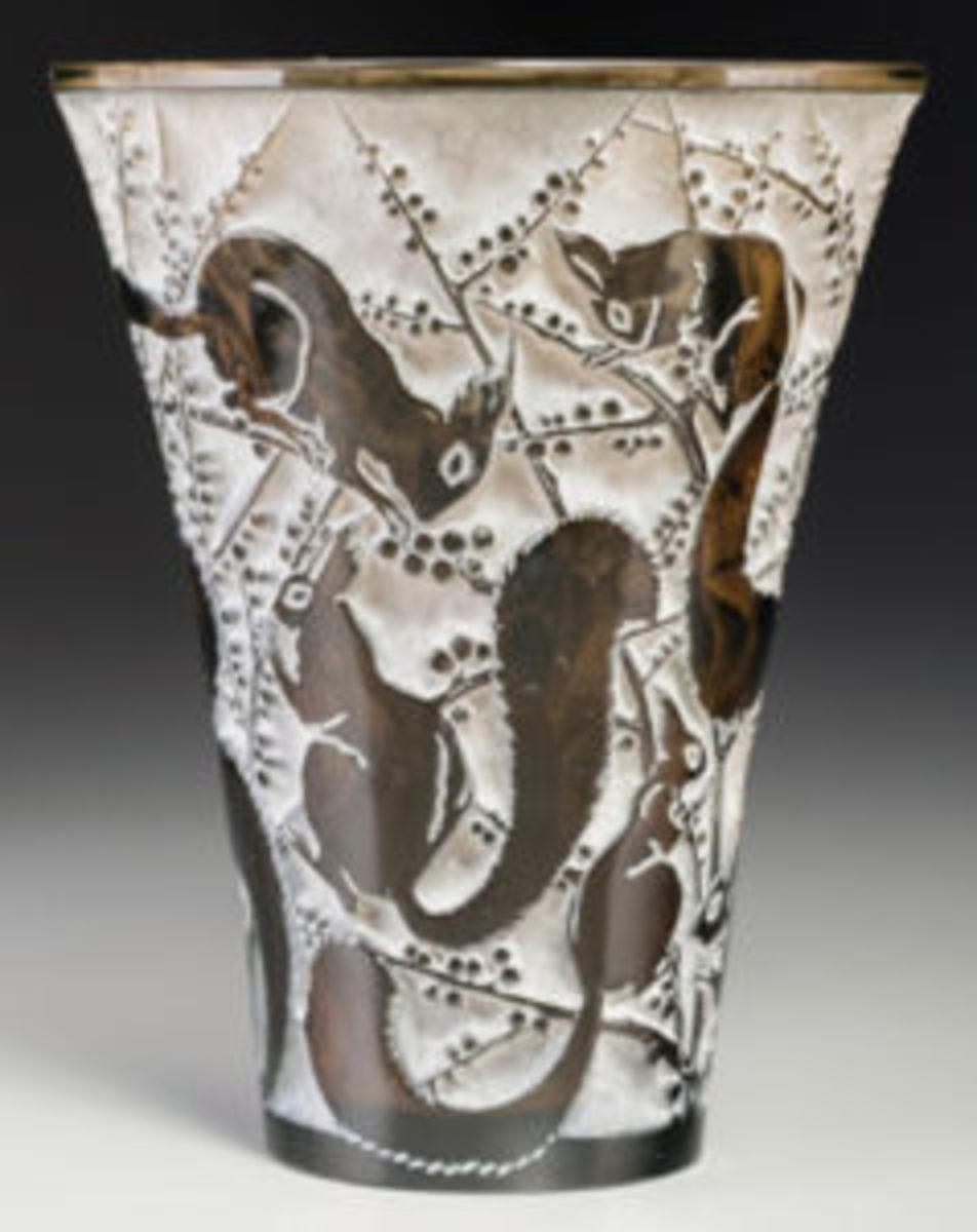 Lalique Senart topaz vase