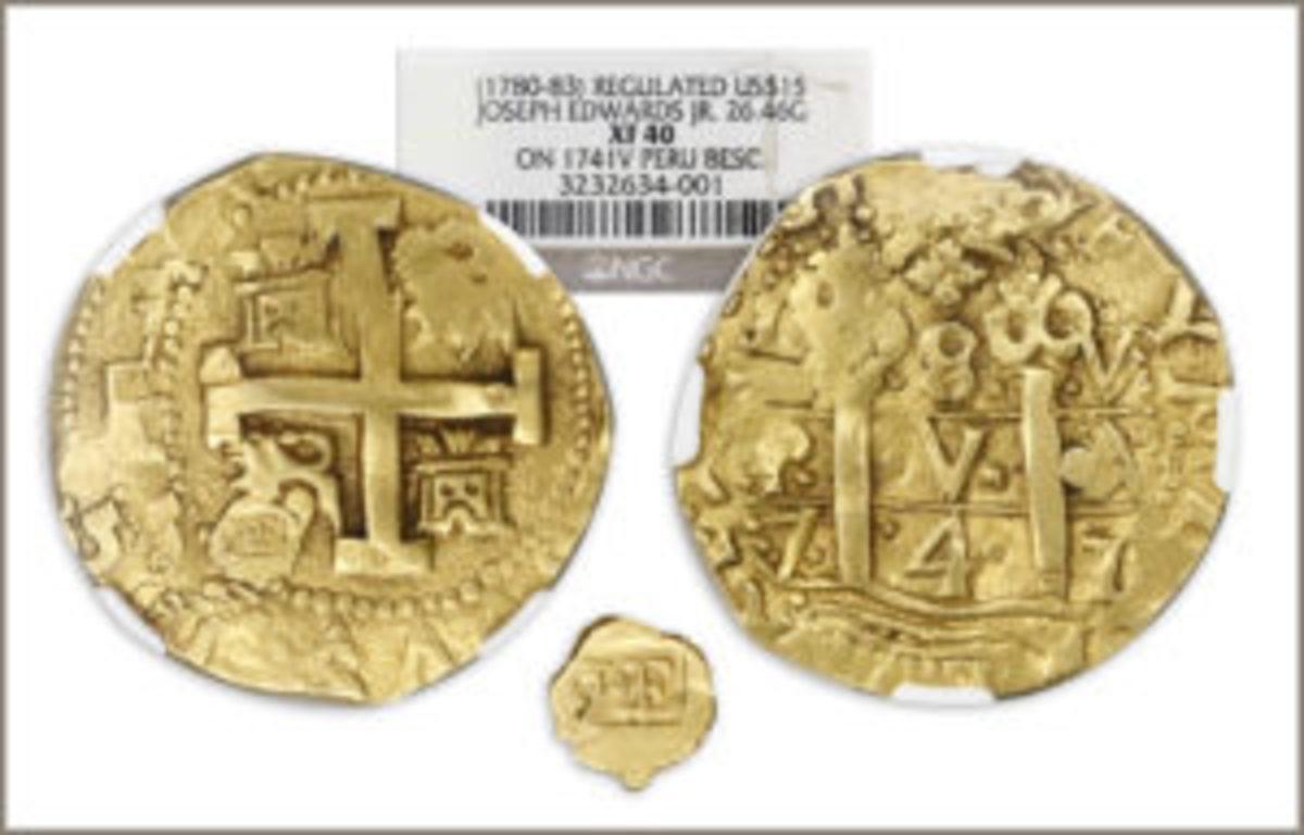 Cob 8 escudos regulated gold coin