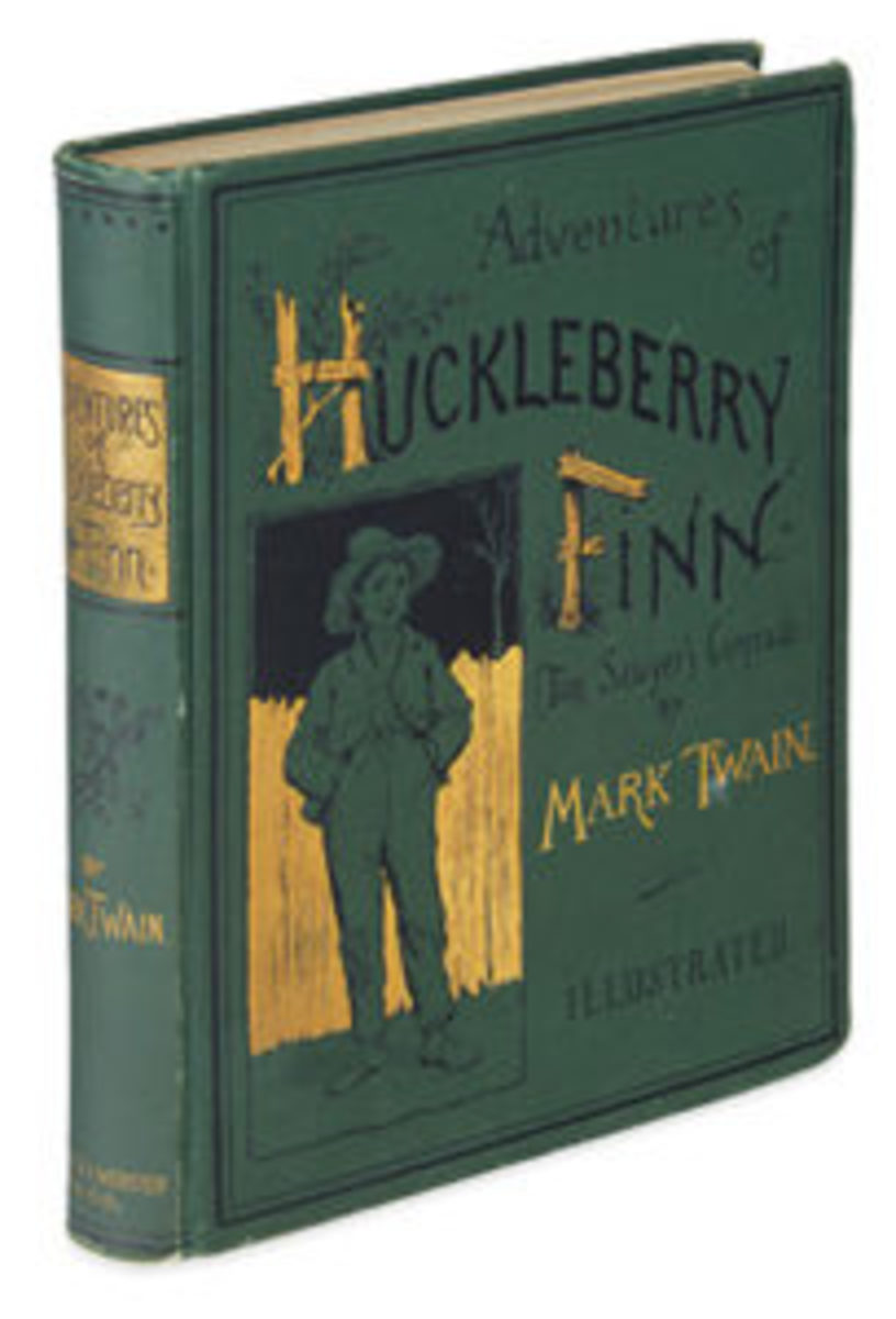 First American edition of Mark Twain's Adventures of Huckleberry Finn, 1885, $7,500. Courtesy of Swann Auction Galleries