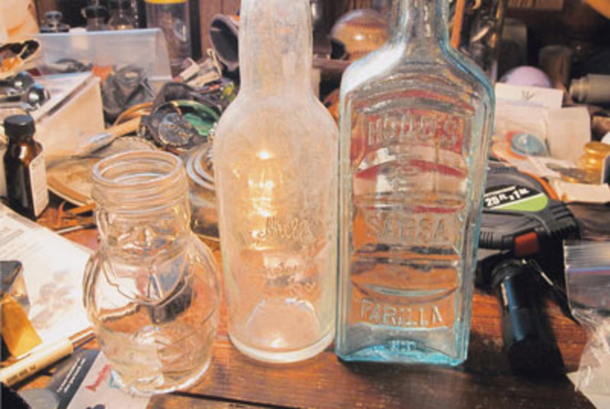 Just a few of the many antique and vintage bottles in P.M.'s collection. (Submitted photo)