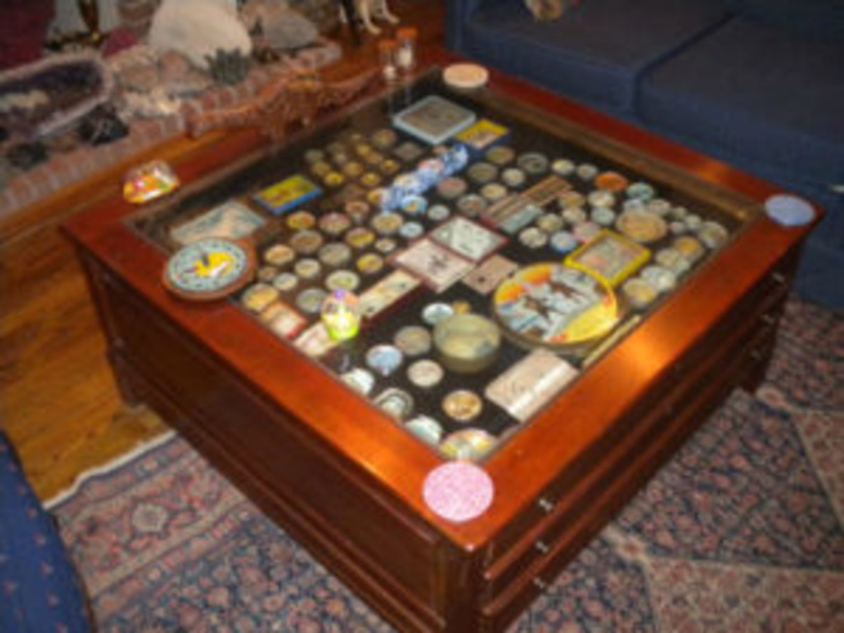 Susan Hettinger has more than 4,000 dexterity games in her collection. This is her coffee table, which safely shows off some of her collection.