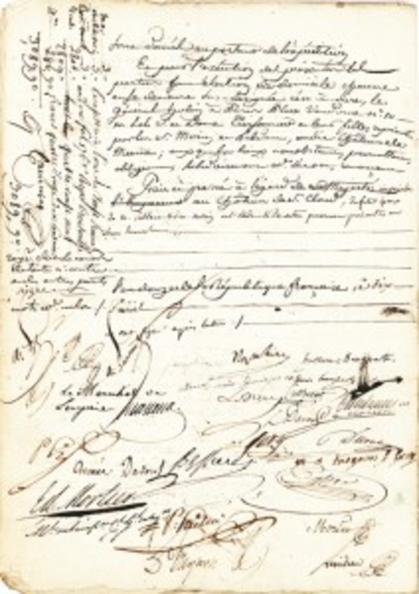 The second page of the contract, bearing among other witness signatures, Napoleon and Josephine.