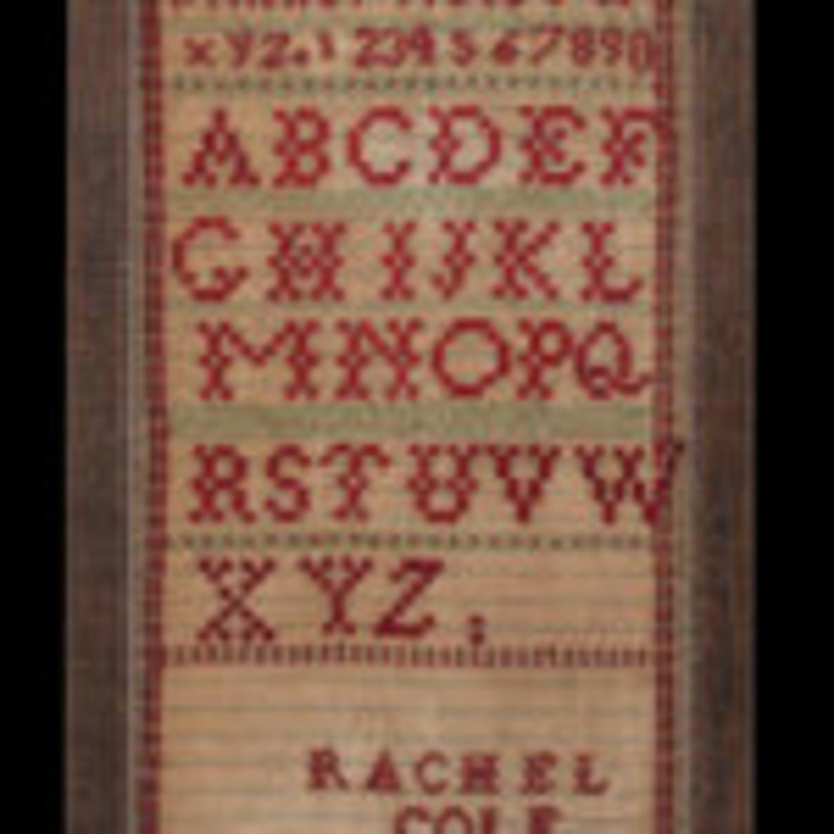 Alphabet Sampler, Rachel Cole (1854-1922), Chicago, Illinois; dated 1868, wool embroidery threads on a cotton ground of 20 x 20 threads per inch, Museum Purchase, 2018.608.1