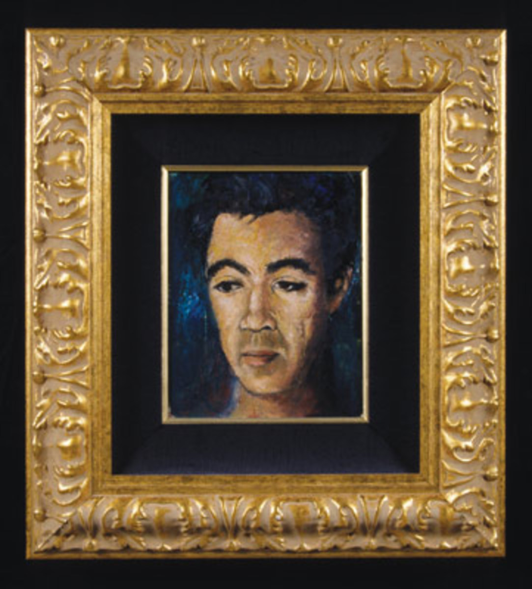 This oil on canvas painting by Quinn is titled Self Portrait at 17, circa 1932, and it measures 21 inches by 19 inches. Photo courtesy The Anthony Quinn Foundation
