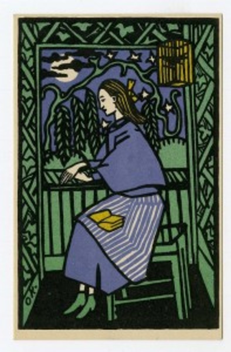 Wiener Werkstatte / Oskar Kokoschka postcard, 'The Woman in the Gazebo,' est. $1,000-$1,500. Morphy Auctions image