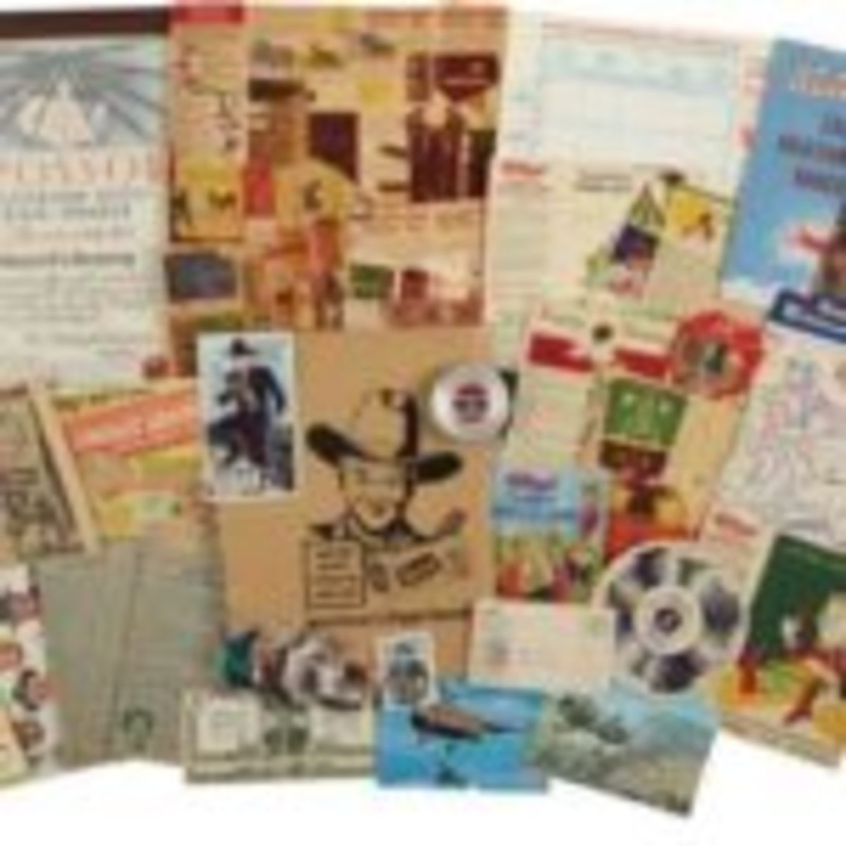 "Collection of various giveaways, box fragments, bread labels, radio mailers, and other nostalgic material, 1920s-60s. Includes Hopalong Cassidy bread labels, Tom Corbett Space Cadet Newsletter; Kellogg's Singing Lady Song Book pamphlet and box panels, illustrated by Vernon Grant; a Wheaties Hike-o-Meter pedometer, in VG+ condition; Kellogg's Cadet Aviation Corps Handbook from 1938, in FN; several Cheerios and Quaker Puffed Rice box log cabins, unpunched from box panels; Kellogg's Funny Jungleland Moving Pictures booklet from 1932 (second version, approximately 4 1/2"" x 6 1/2"", not the larger later reissue); a 1924 Post Toasties four-page booklet; a 1930s-era sponsor award for Scattergood Baines, given to grocery stores by Wrigley's, and more. Sold for $89.63. Courtesy of Heritage Auctions"