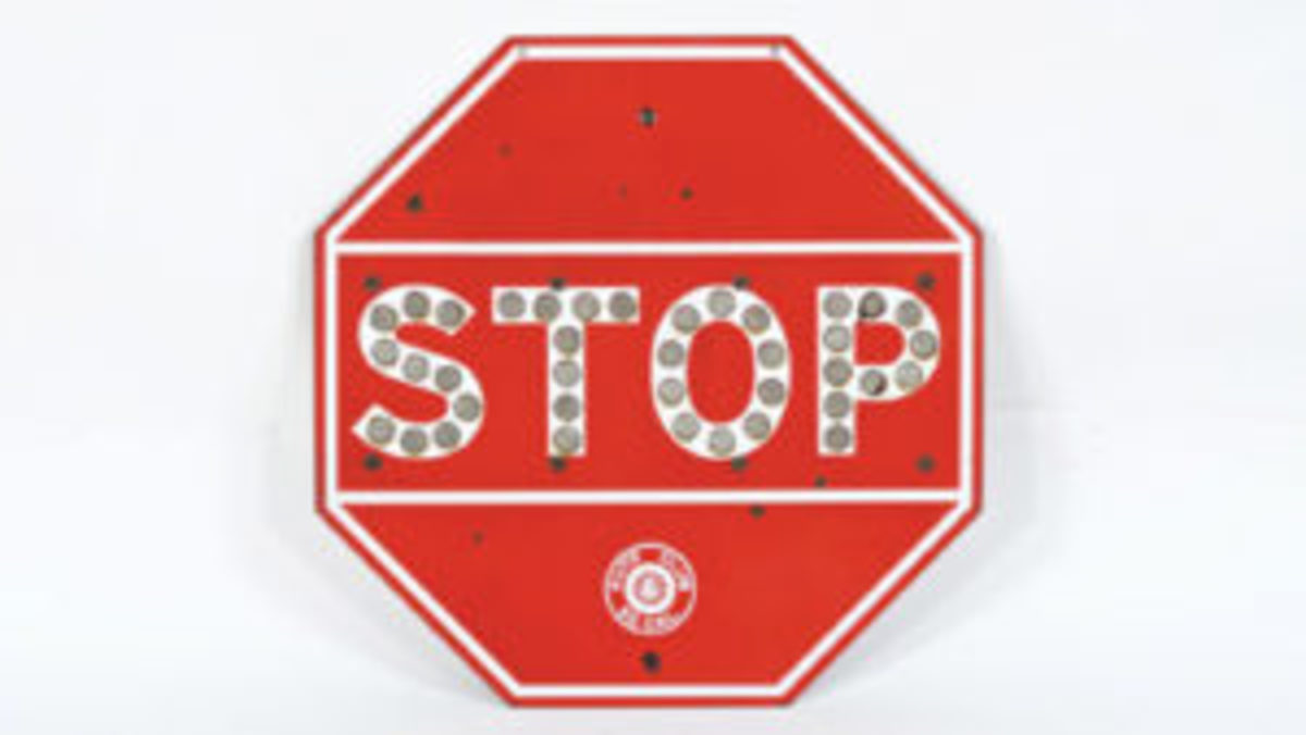 Vintage stop sign with glass bead reflectors