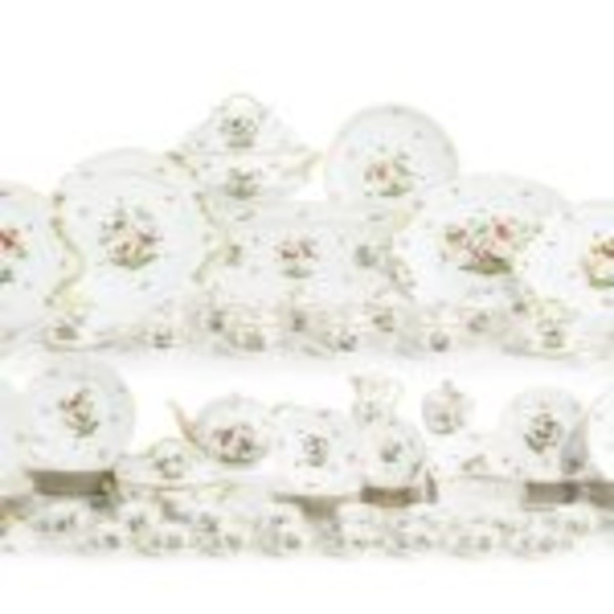 An extensive 43-lot Herend dinner service in the Rothschild Bird pattern from the collection of Fima Ruchman has estimates ranging from $150-$250 to $1,500-$2,000.