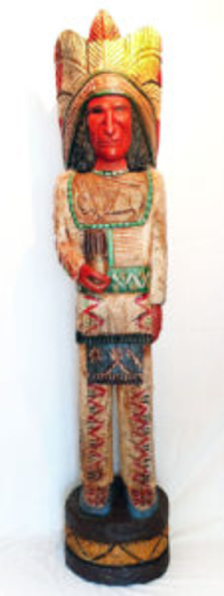 Cigar Store indian carved figure