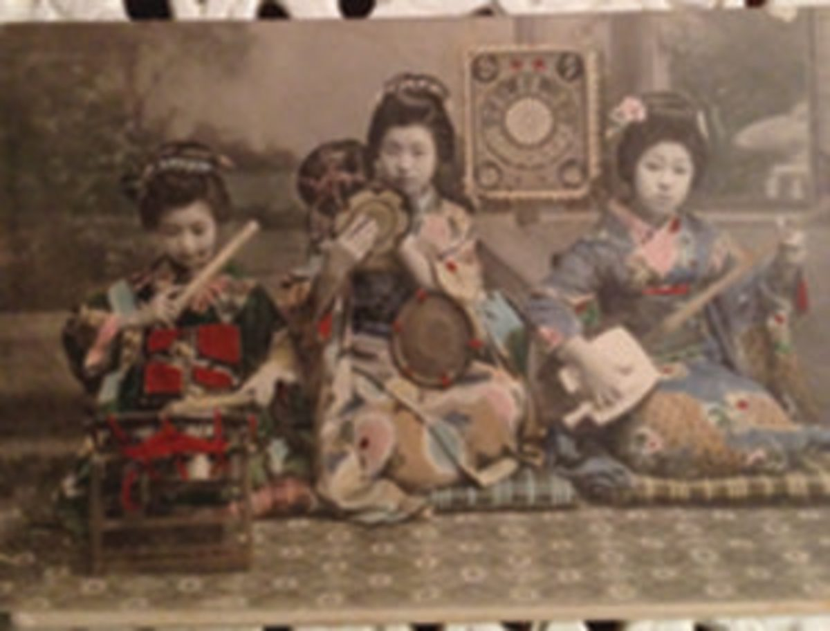 Tinted Japanese postcard with musicians