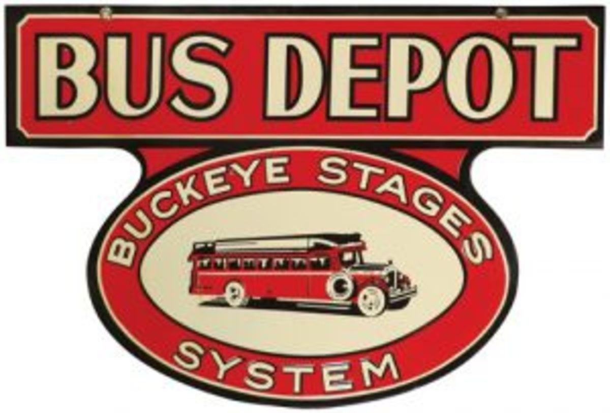 Vintage advertising sign Buckeye Stages bus depot sign