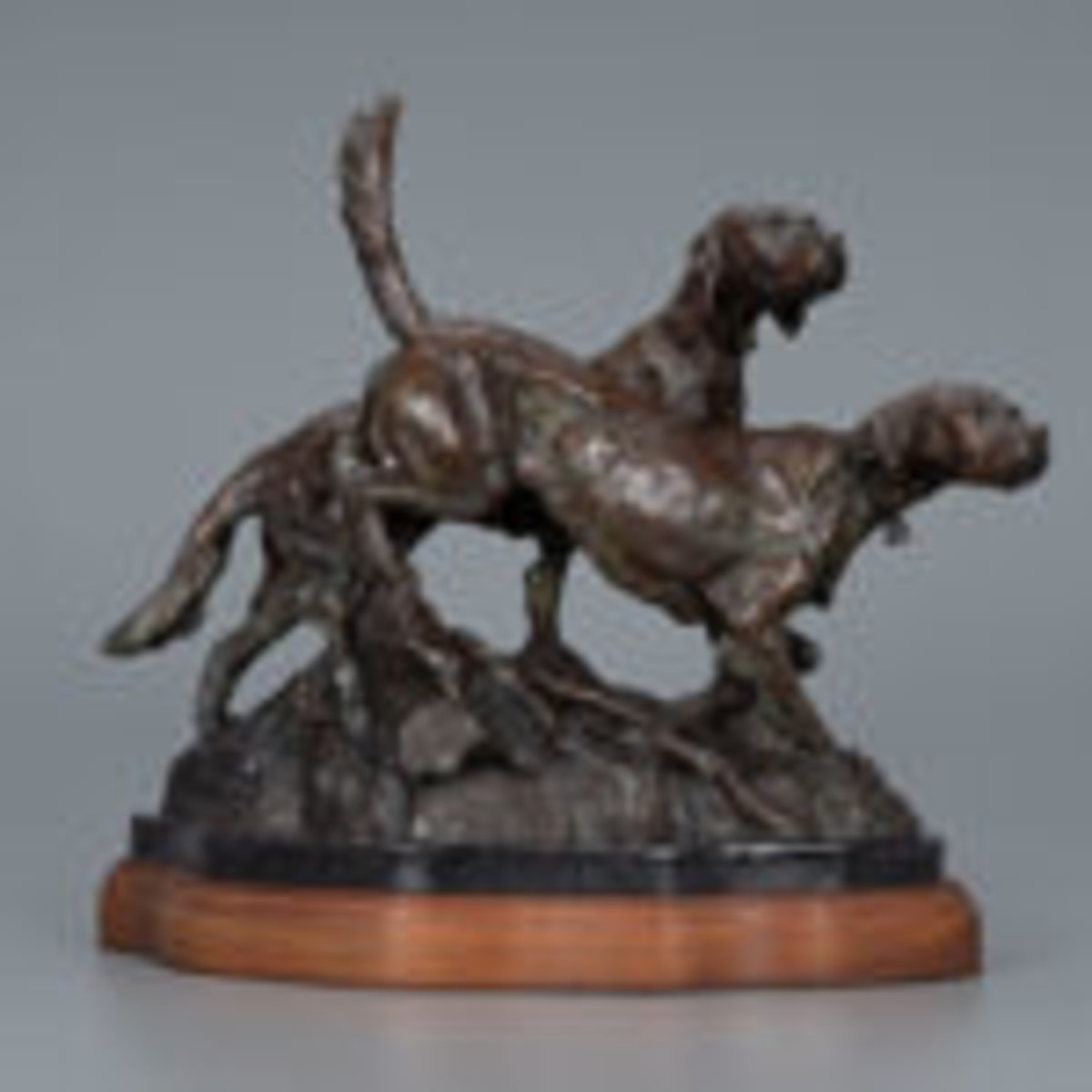 Walter T. Matia (b. 1953), Setter Pair, bronze, 11 3/4 by 15 3/4 by 7 in., Estimate: $1,000-$1,500