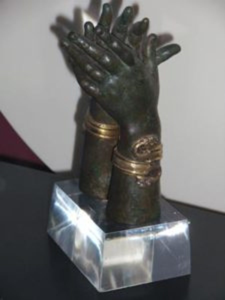 Ancient Greek nutcracker in gilded bronze