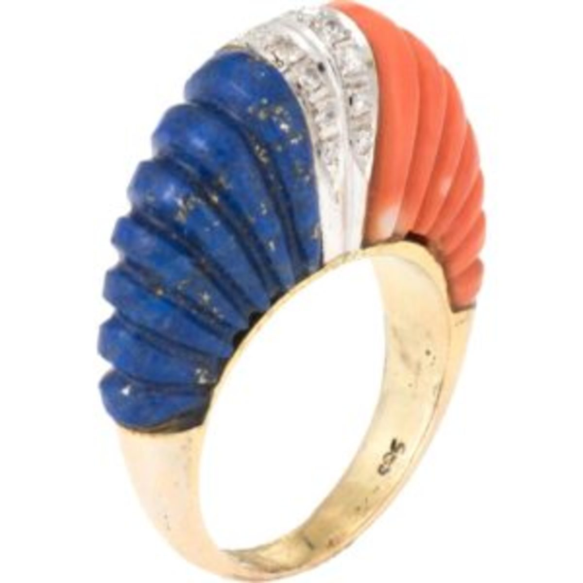 Finely detailed vintage dome cocktail ring (circa 1960s), crafted in 14 karat yellow gold. Fluted lapis lazuli measures 20mm x 7.5mm and fluted coral measures 20mm x 7.5mm. $2,895. Courtesy of Ruby Lane
