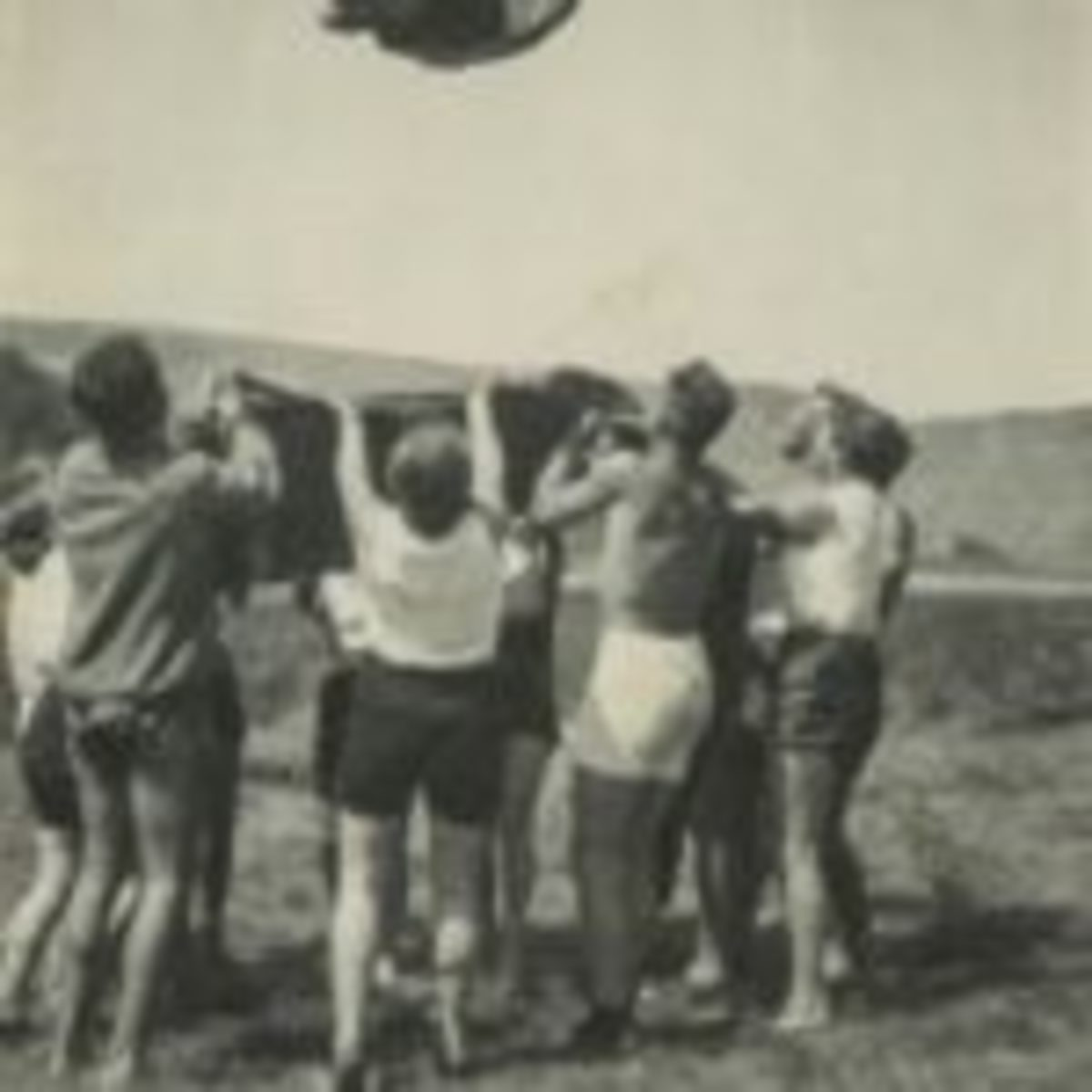 Some of Peter's favorite images are people in mid-air, either jumping, diving, or in this case being tossed by a group holding a blanket. Courtesy Peter Cohen Collection.