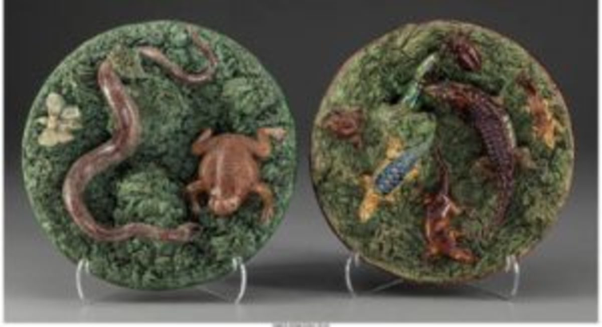 Duo of Portuguese Palissy ware plates