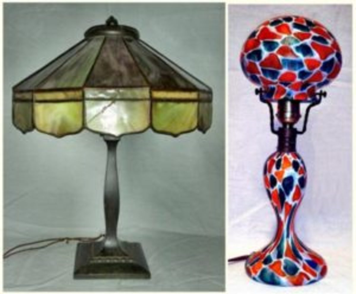 Slag glass lamps