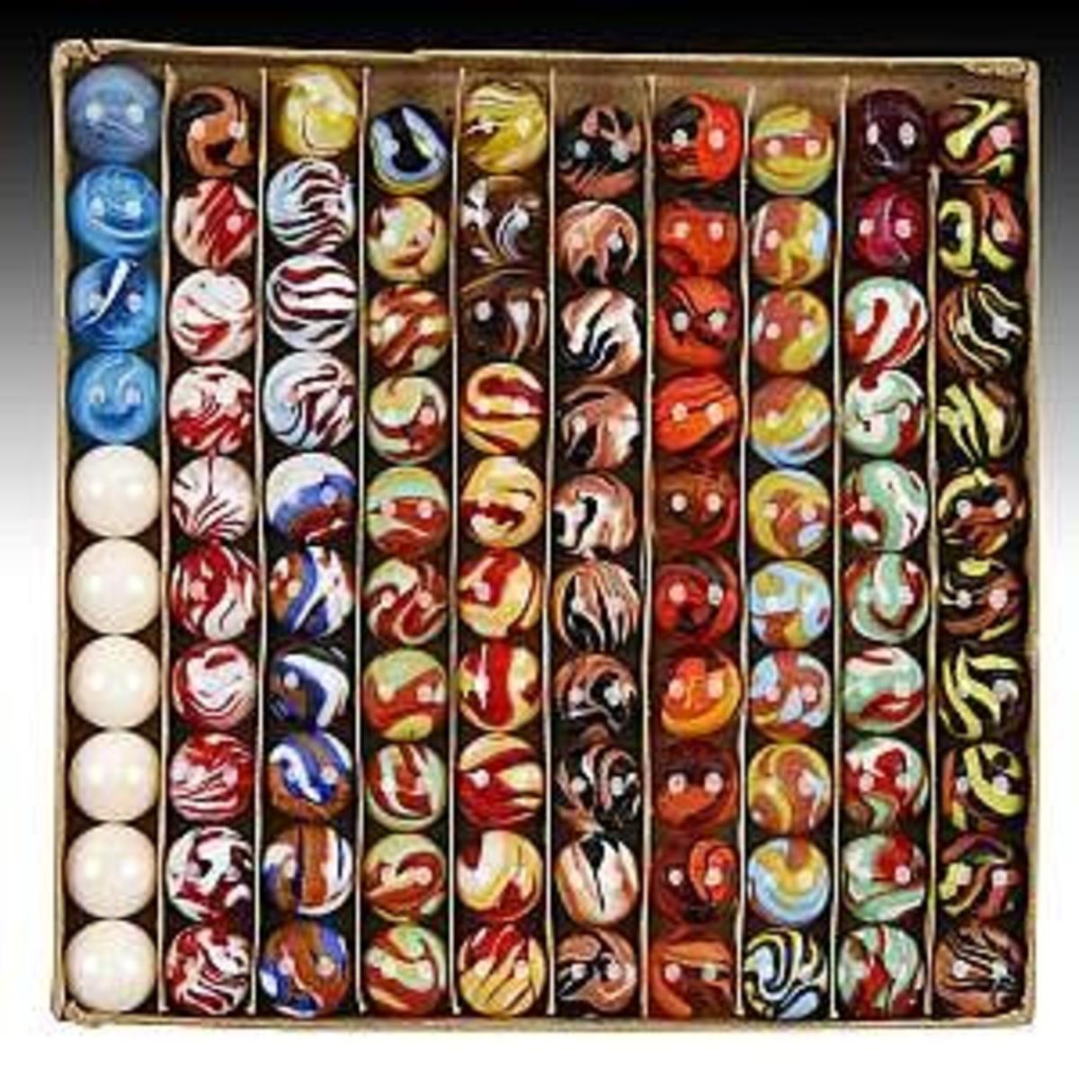 Selection of unique vintage marbles.