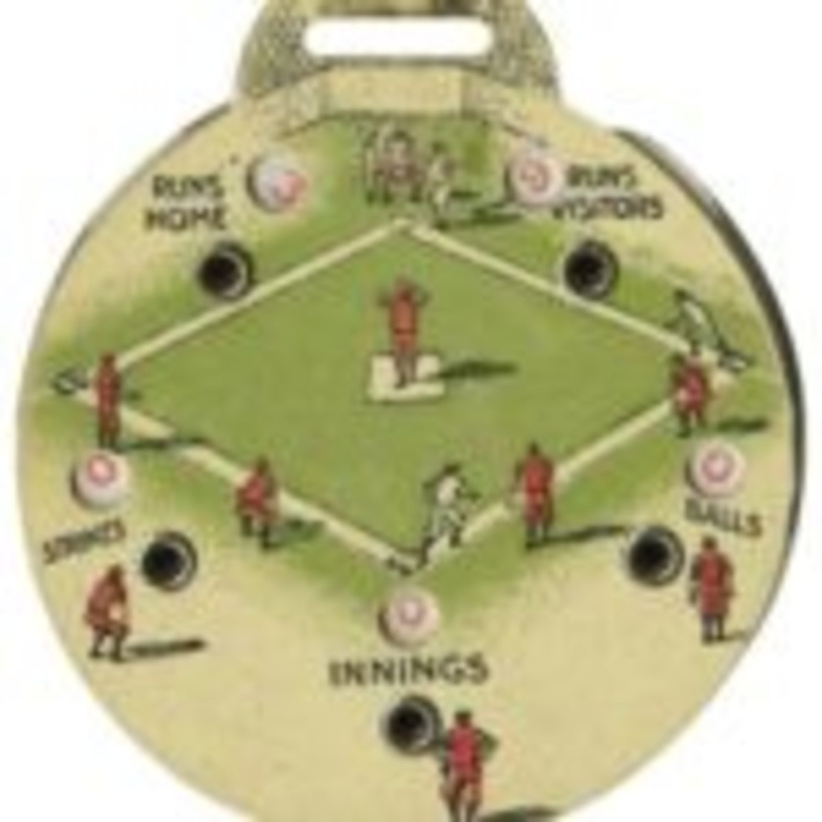 """1935 Quaker Oats Premium Babe Ruth Umpire's Scorekeeper. Premium distributed by the Quaker Oats cereal company in 1935 features the visage of the Great Bambino on one side while the other features movable wheels and viewing windows for umpire's scorekeeping. Measuring 1 3/4"""" in diameter, this piece is one with the Boston Braves insignia on Babe's cap. Sold at auction for $215.10. Courtesy of Heritage Auctions"""