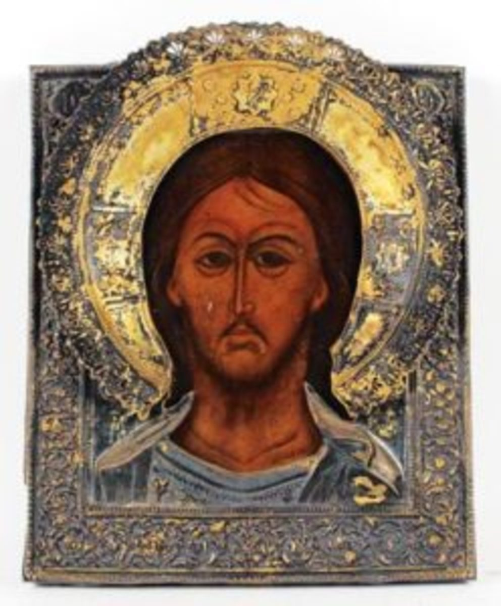 18th century gilt silver Russian icon, titled Christ the Pantocrator, $5,300.