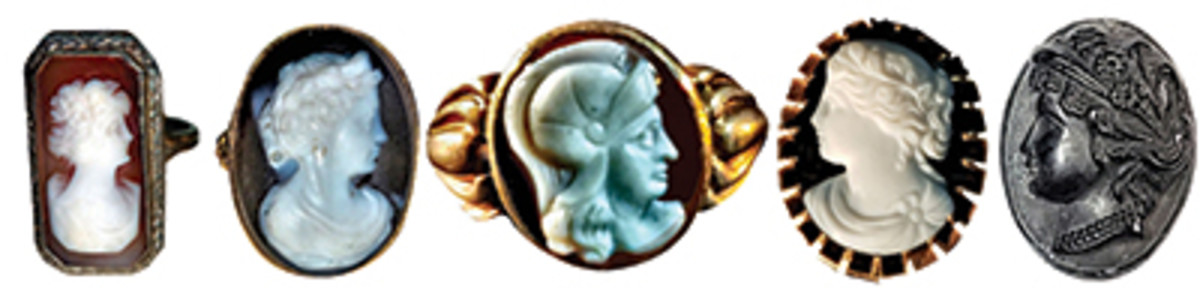 Cameo rings have been popular for as long as cameos have been carved with the more popular motifs being Grecian and Roman women and Roman soldiers. From left to right: sardonyx shell cameo 1920s, 18th century hardstone cameo, early 19th century Roman soldier hardstone cameo, early 19th century hardstone cameo, and a 19th century cameo in jet; gutta percha was also used.
