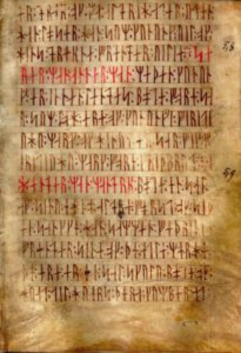 Codex runicus, a vellum manuscript from circa 1300 containing one of the oldest and best preserved texts of the Scanian law (Skånske lov), written entirely in runes.