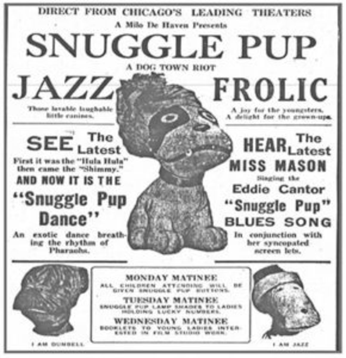 The Snuggle Pup craze included many jazz frolics and special dances, along with special songs like the one written by actor and musician Eddie Cantor. Image courtesy of newspapers.com