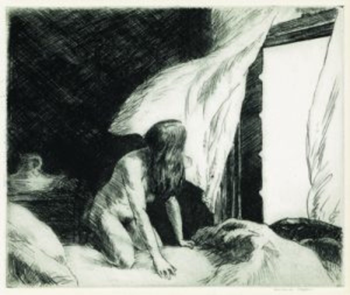 "Hopper etching ""Evening Wind"""