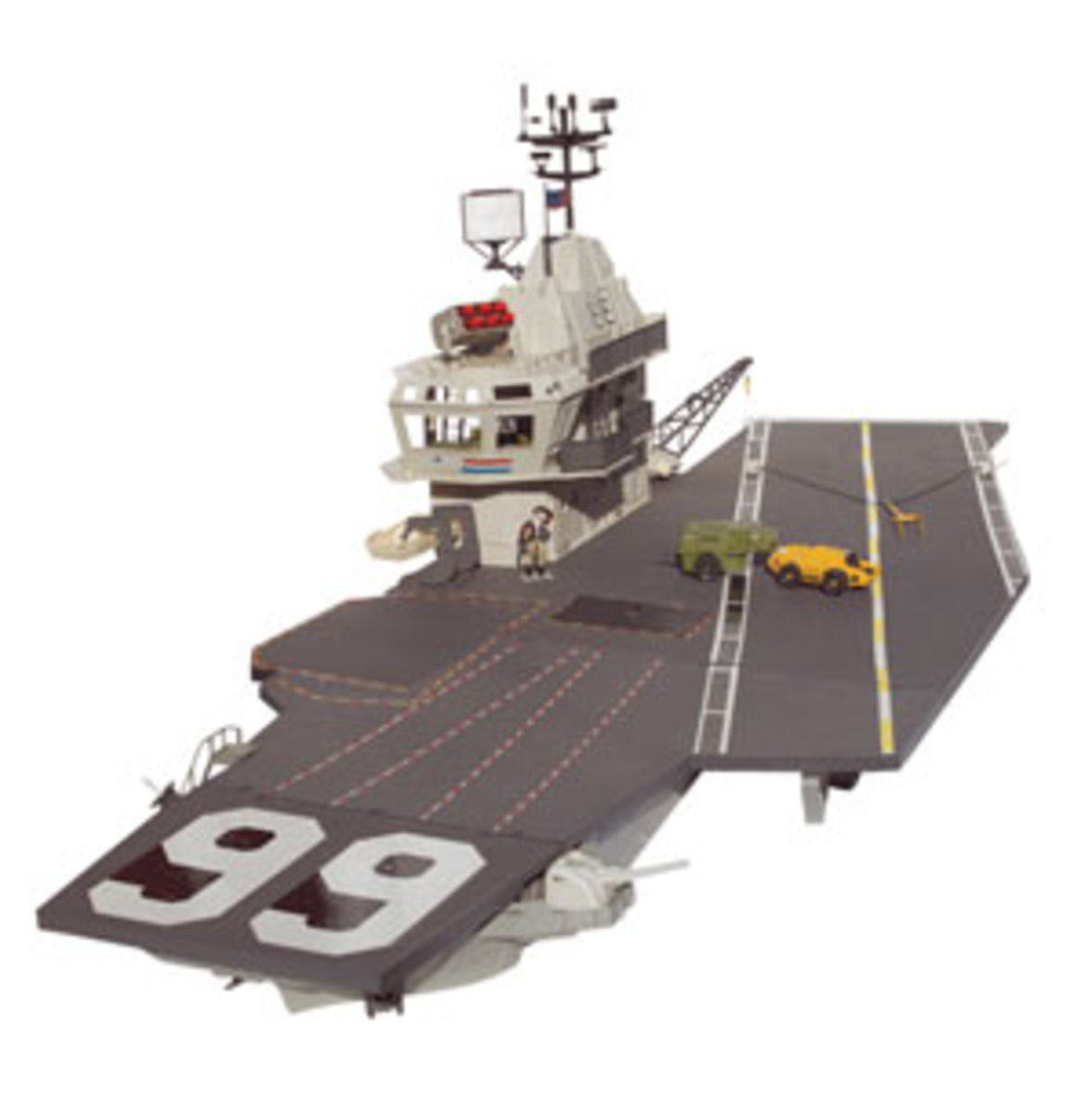 The U.S.S. Flagg Aircraft Carrier – 7 ½' long (bow to stern) – is often referenced by toy magazines as the greatest action figure playset ever created. The carrier, found Mint in Sealed Box, can sell for more than $5,000.