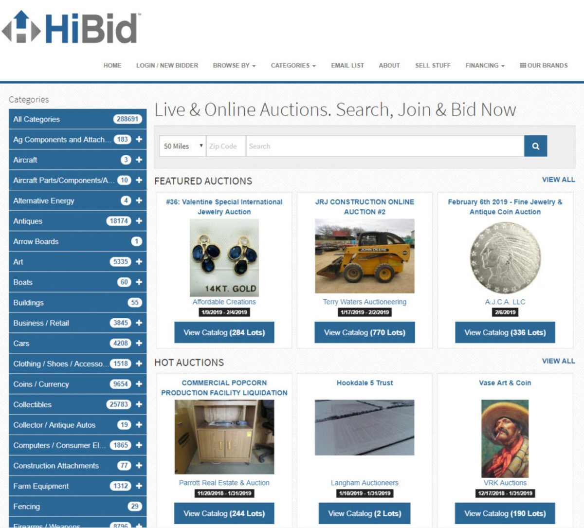 HiBid.com home page
