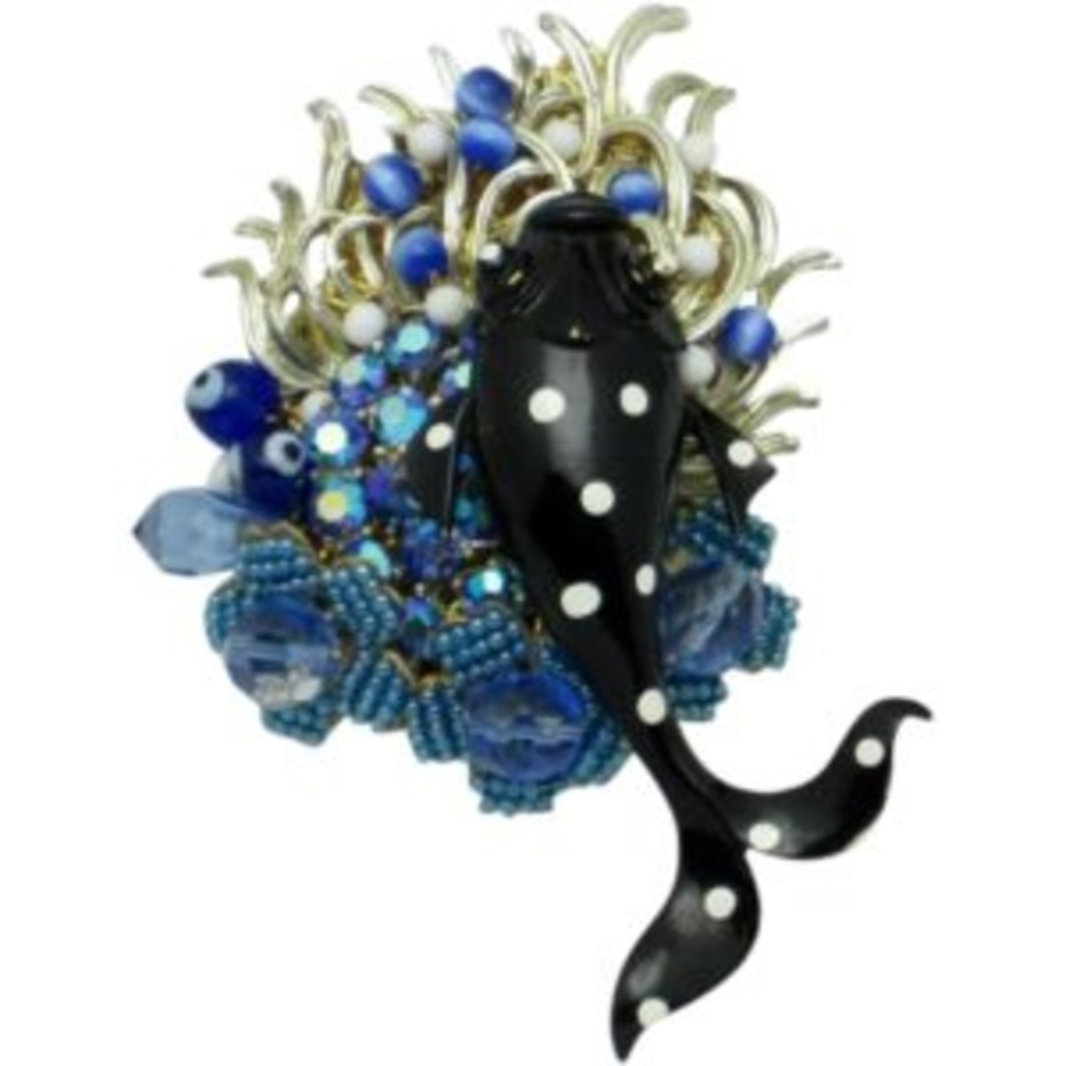 Very Unique and gorgeous Stanley Hagler, N.Y.C. Under the Sea rhinestone, seed pearl, crystal, art glass, enamel and gilt figural fish brooch or pin. The brooch features a large black enamel fish with white enamel circles. The fish is mounted on blue seed pearl flowers with crystal centers which is a Hagler classic. $169. Courtesy of Ruby Lane