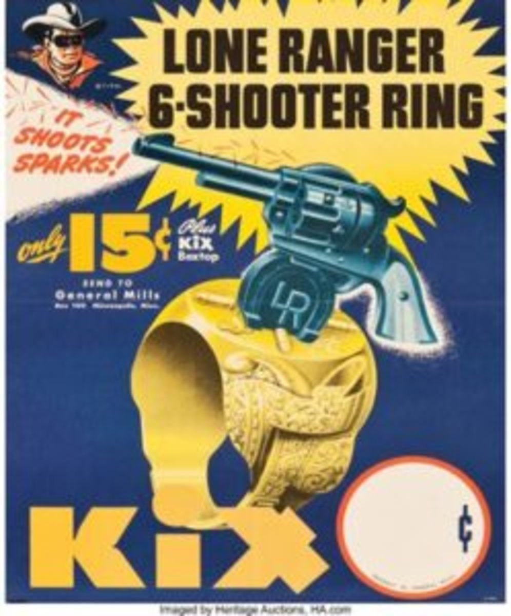 "The Lone Ranger 6-Shooter Ring, Kix Cereal (General Mills, 1947). Advertising poster (17"" x 22""). This unique lot features an advertisement for a premium Lone Ranger-themed ring issued by General Mills in 1947 that was obtained by sending 15¢ and one Kix box top. The Lone Ranger looks out from the upper left corner, and at the center is a detailed illustration of the ring. The base is embellished with Western elements and holds a three-dimensional plastic replica gun marked on its base with a horseshoe surrounding ""LR"" initials. There is even a small opening under the barrel where a flint is to be inserted. Folded, Near Mint. Sold at auction for $239. Courtesy of Heritage Auctions"