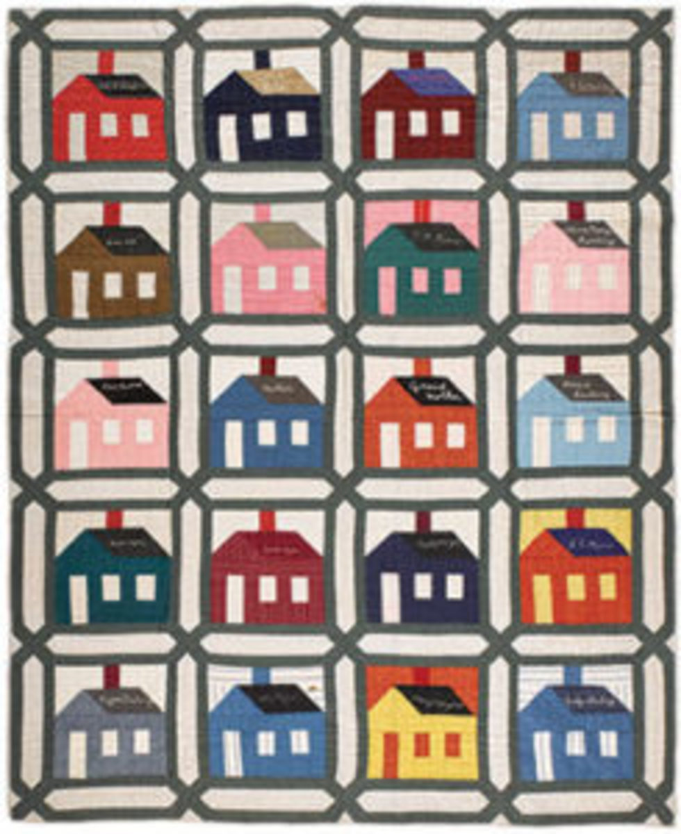 Schoolhouse friendship quilt