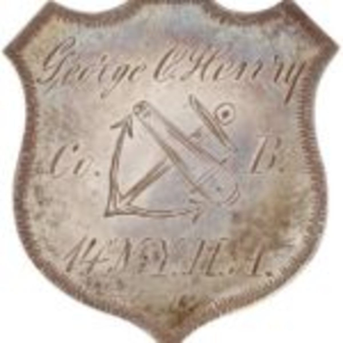 Rare beautiful silver Civil War ID badge belonging to George C. Henry of the 9th Corps. The Corps insignia of crossed cannon barrel and anchor is beautifully engraved. It sold through Heritage Auctions for $2,510 in November 2008. Henry was severely wounded at Spotsylvania.