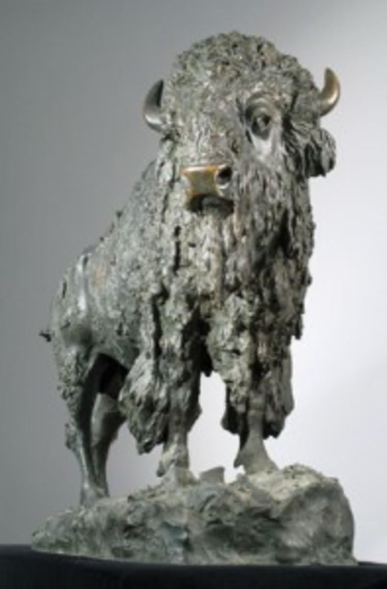 Elk Buffalo bronze