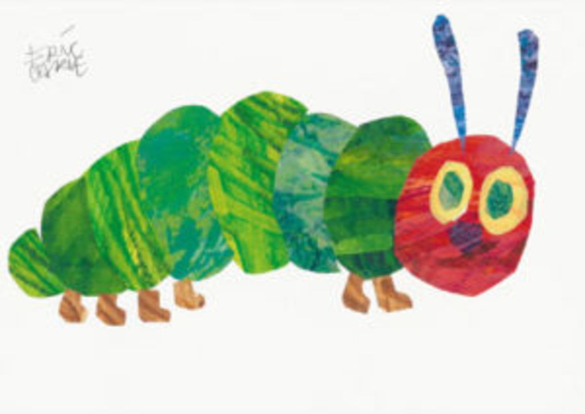 "Eric Carle, ""The Very Hungry Caterpillar,"" hand-painted collage. Sold for $20,000, an auction record for the artist. (Presale estimate: $8,000-12,000). Photos courtesy of Swann Galleries"