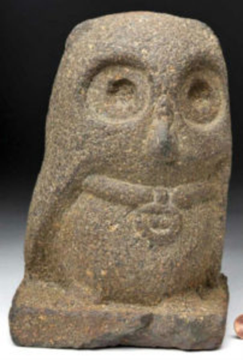 Mayan stone sculpture of an owl, 5¾ inches high.