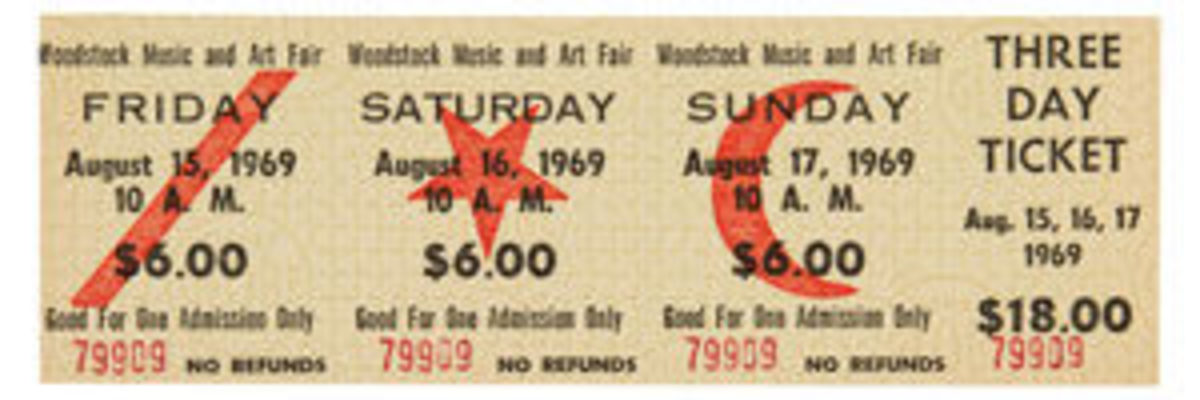 An unused three-day ticket to the Woodstock Music and Art Fair is worth $800 today. Image courtesy of Heritage Auctions