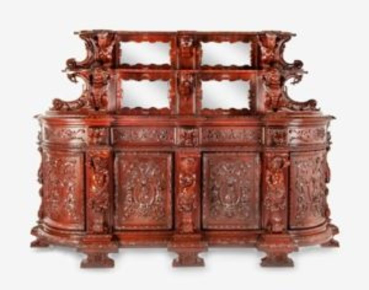 Elaborately carved baroque revival sideboard, $2,700
