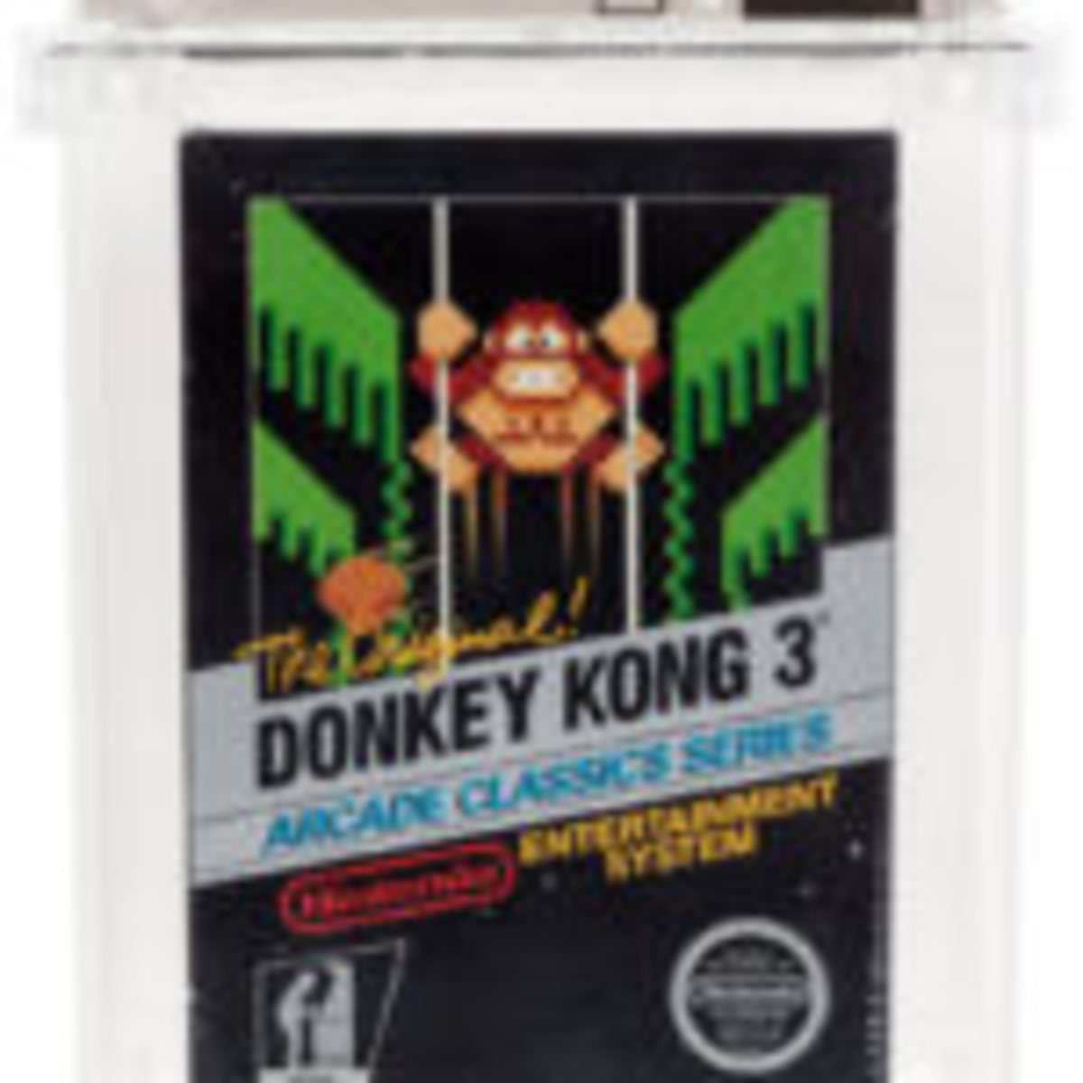 Donkey Kong 3 (NES, Nintendo, 1986) Wata 9.2 A (Seal Rating) Variant: Sealed Hangtab, 4th Revision, 2 Codes. Photos courtesy of Heritage Auctions, www.ha.com.