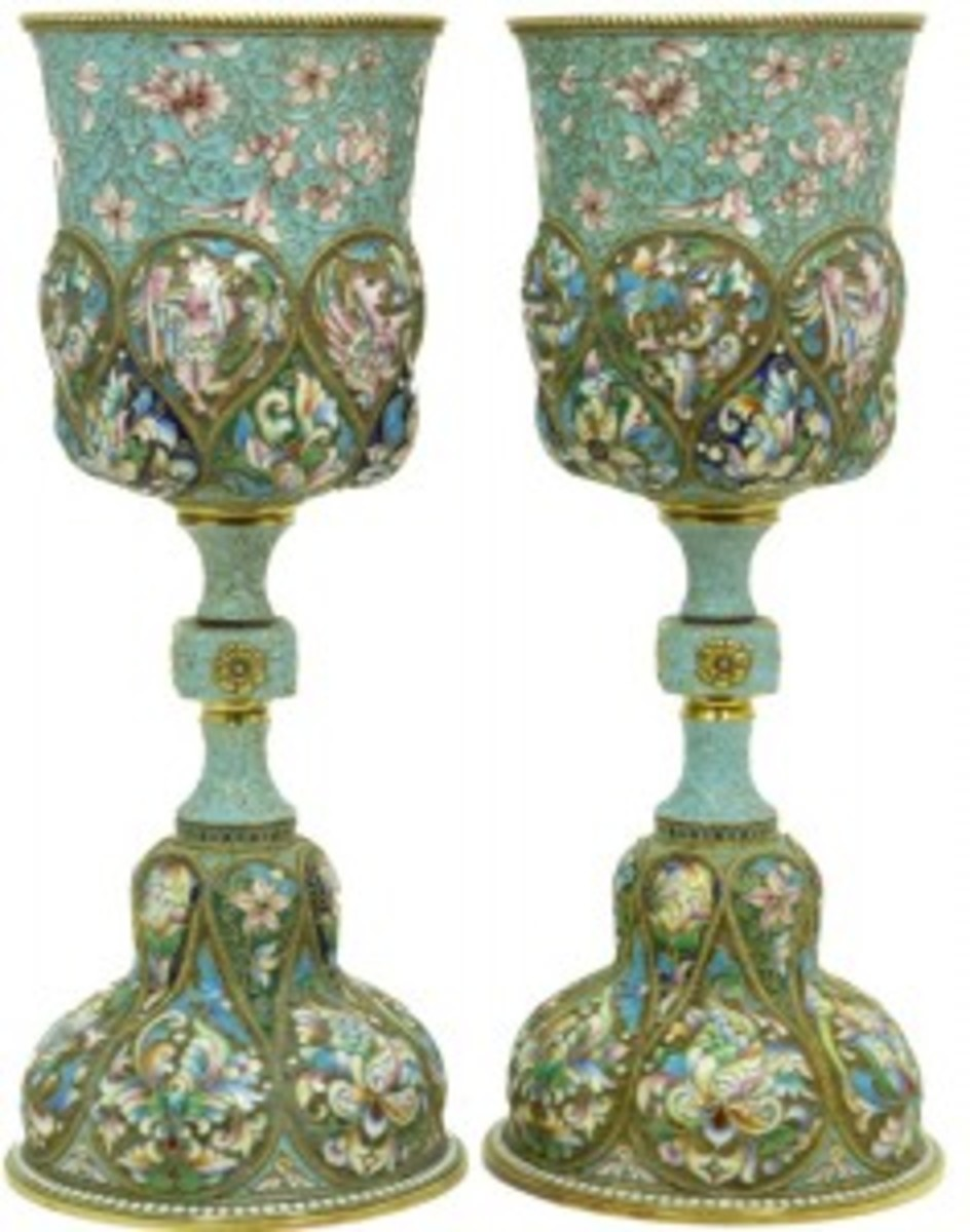 Extraordinary pair of large Russian silver and enamel chalices, each one 10 inches tall and with a combined weight of 48 troy ounces (est. $7,000-$8,000).