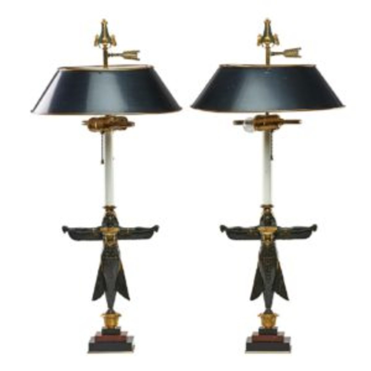 Egyptian revival table lamps