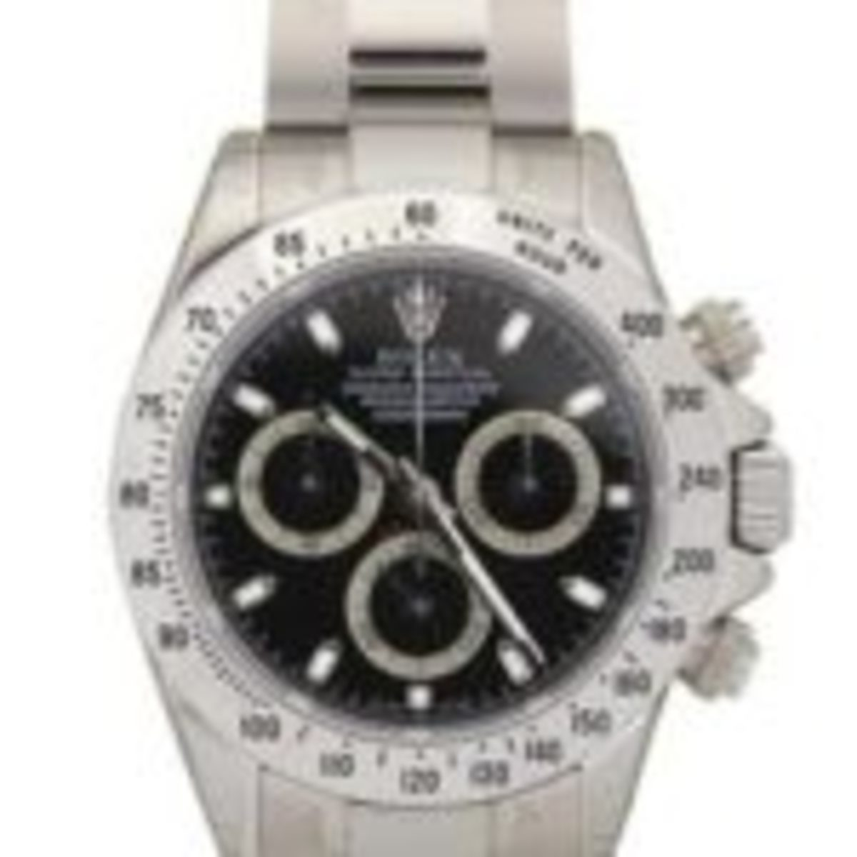 This Rolex black Dial Cosmograph Daytona stainless steel wristwatch, Ref: 116520, flew past high estimate selling for $15,730.