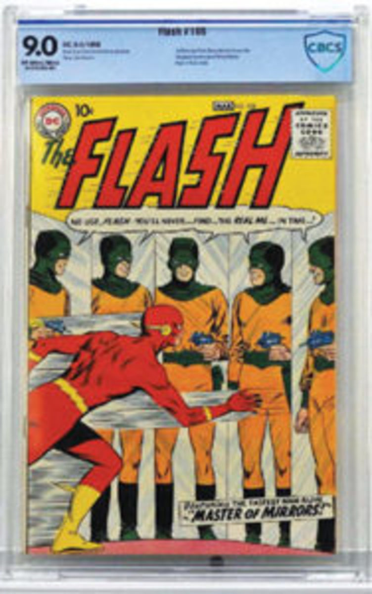 "Copy of DC Comics ""Flash #105"" (Feb.-Mar. 1959), featuring the first Silver Age ""Flash"" in his own title, plus the first appearance and origin of ""Mirror Master,"" $20,000."