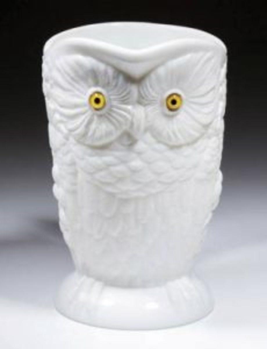 milk glass owl pitcher