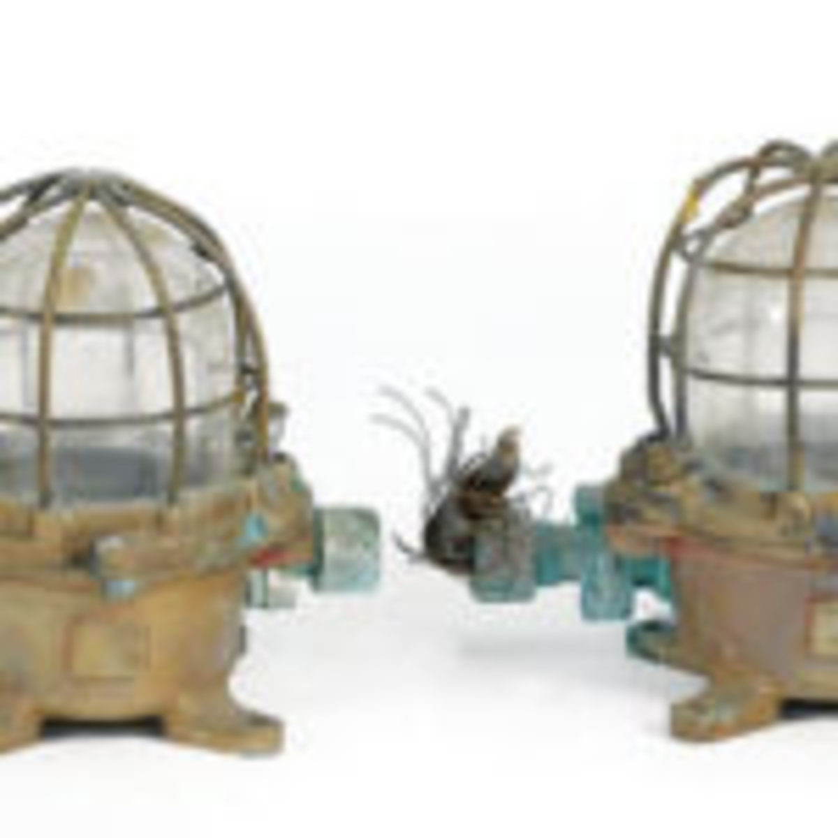 "Lamps, pair, bulkheads, 20th century, 11"" h., $120. Eldred's Auctioneers & Appraisers, www.eldreds.com"