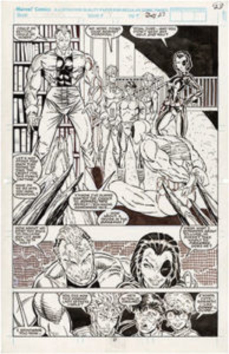"""Rob Liefeld original comic book page art from """"New Mutants"""" #98, Feb. 1991, the issue featuring Deadpool's debut, $40,380."""