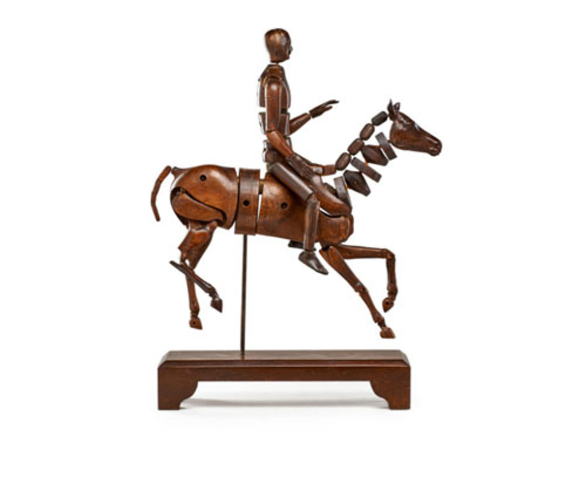 Articulated horse and rider mannequin