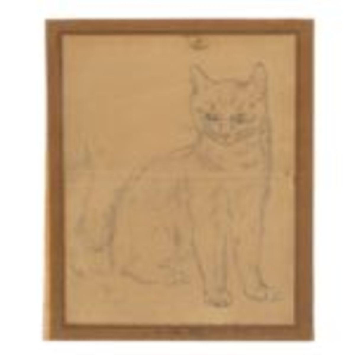 Léonard Tsuguharu Foujita (Japanese-French, 1886-1968), Staring cat